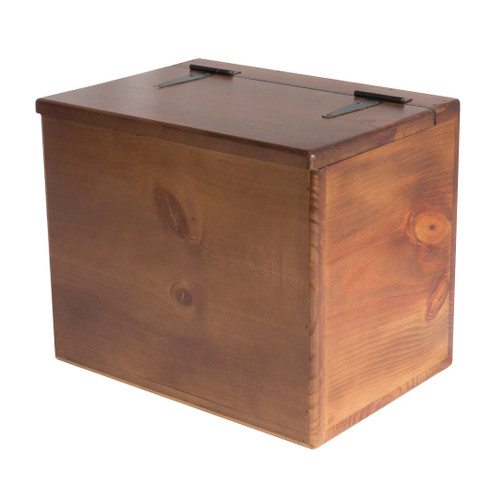 This solid wooden box adds versatile storage throughout the home for general household items.