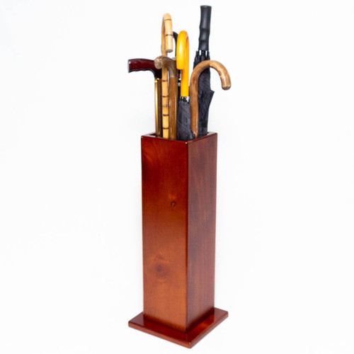 This umbrella stand is fully assembled and ready for use. It can be placed freestanding at an entrance or along a hallway to display and store umbrellas, walking canes or crutches.