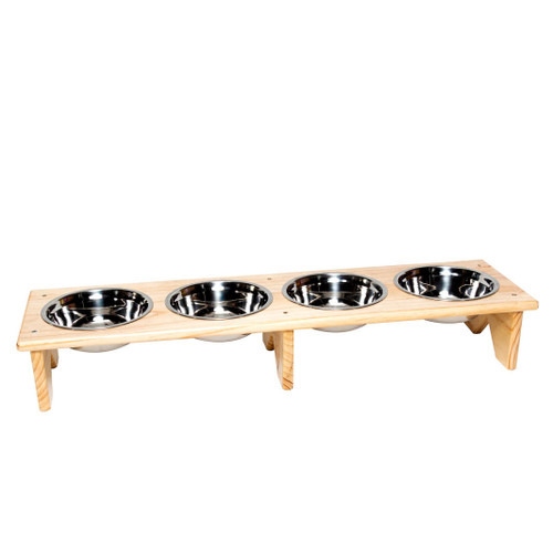 The freestanding wooden dog bowl and cat bowl stand with 4 bowls is fully assembled and ready to serve multiple pets food and water in separate bowls during meal times