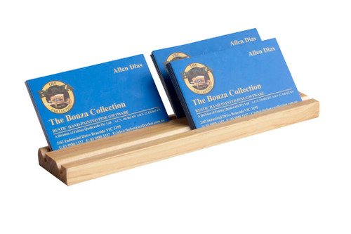 This sleek wooden business card holder displays business cards 2 abreast and is perfect for an office or co-sharing workspace to display and professionally showcase your business cards.