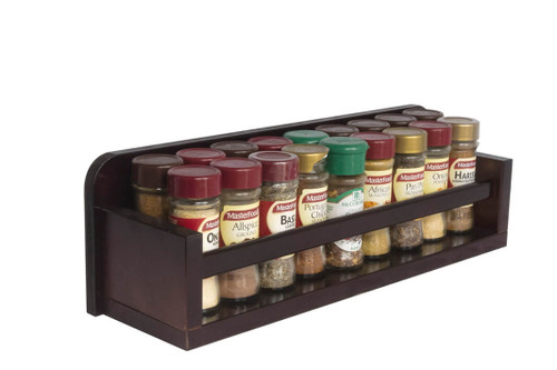 The spice rack is fully assembled and ready for use and can store up to 18 regular 40g spice jars across two rows on behind the other. The shelf can also accommodate taller spice jars and condiment bottles