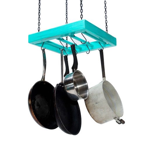The small square wooden hanging pot rack is fully assembled and comes ready for mounting on a kitchen ceiling with four heavy duty chains duly fitted