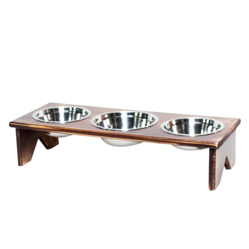 The freestanding dog bowl and cat bowl stand is fully assembled and ready to serve food or water for your cats or dogs