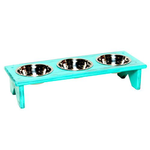 This freestanding wooden dog bowl and cat bowl stand is fully assembled and ready to serve your cat or dog wet food, kibble and water in separate bowls during meal times