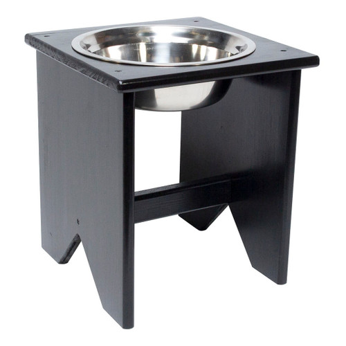 This freestanding wooden elevated dog bowl stand is fully assembled and ready to serve food or water to your dog