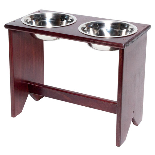 This wooden elevated dog bowl stand is fully assembled and ready to serve food and water to your dog