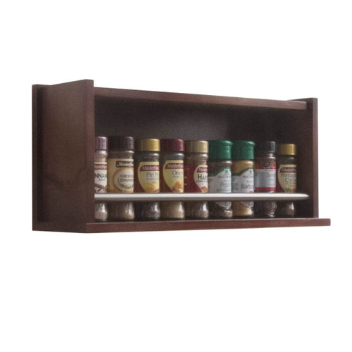 The spice rack is fully assembled and ready for use and can store up to 18 regular 40g spice jars across two rows on behind the other.
