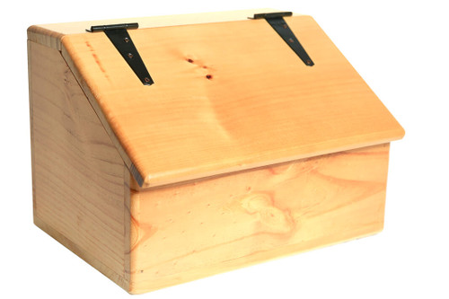 This solid wooden box with a sloped top adds an elegant and stylish country touch and offers versatile storage throughout the home for general household items.