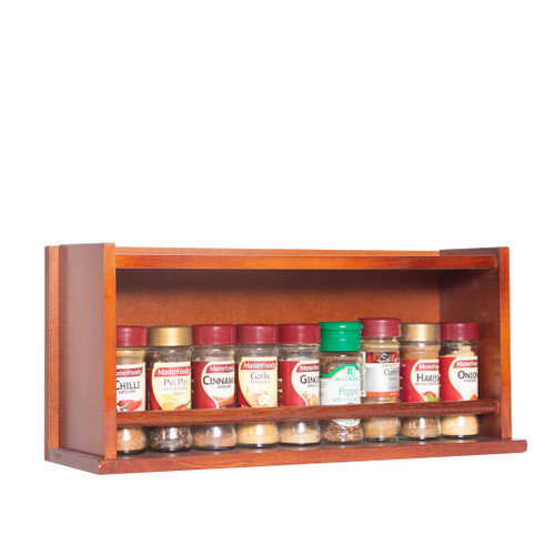 The spice rack is fully assembled and ready for use and can store up to 18 regular 40g spice jars across two rows on behind the other. The shelf can also accommodate taller and larger spice jars