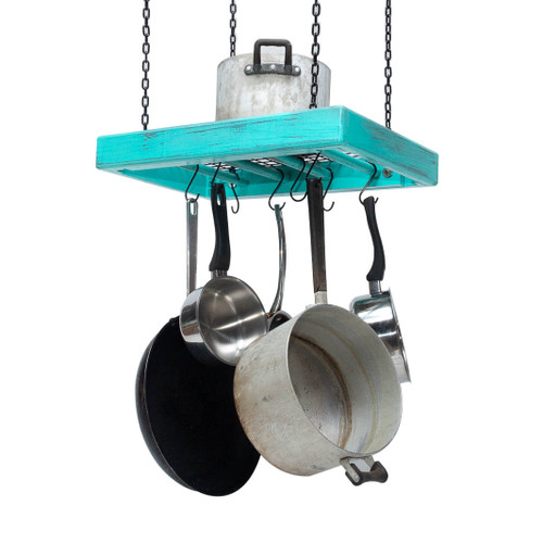 The small rectangular wooden hanging pot rack is fully assembled and comes ready for mounting on a kitchen ceiling with four heavy duty chains duly fitted