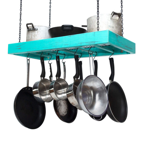The large wooden hanging pot rack is fully assembled and comes ready for mounting on a kitchen ceiling with four heavy duty chains duly fitted