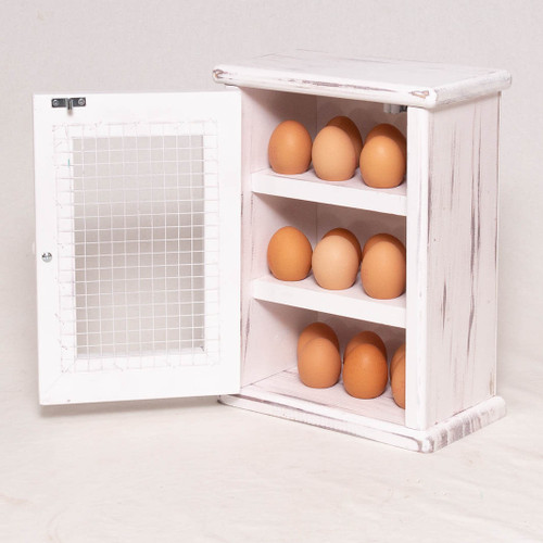 This rustic wooden egg cabinet will add a country feel to your kitchen and is ideal for keen bakers and cooks to store 18 fresh eggs at room temperature on your kitchen countertop or pantry.