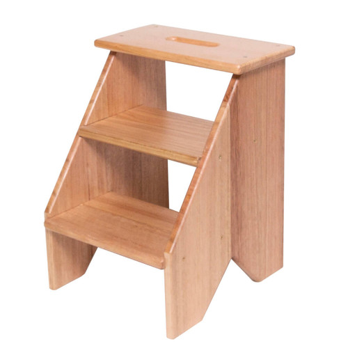 This wooden hardwood step stool brings elegant charm and is a versatile addition to the home or office to provide that extra height to access those hard to reach places.