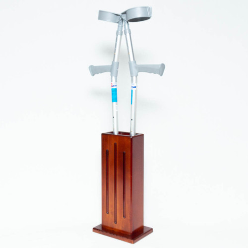 The crutch stand is fully assembled and ready for use. It can be placed freestanding near a lounge, bed or at an entrance or along a hallway to hold crutches, walking sticks or umbrellas for convenient access