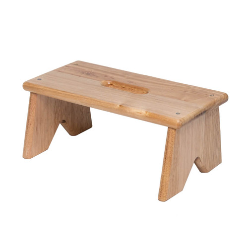 This Tasmanian Oak hardwood step stool has one step which is securely fastened to the sides by screws