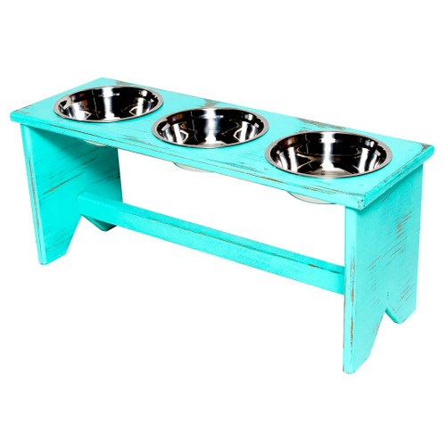 This wooden 3 bowls elevated dog bowl stand is fully assembled and ready to serve your dog food, kibble and water in separate bowls during mealtimes