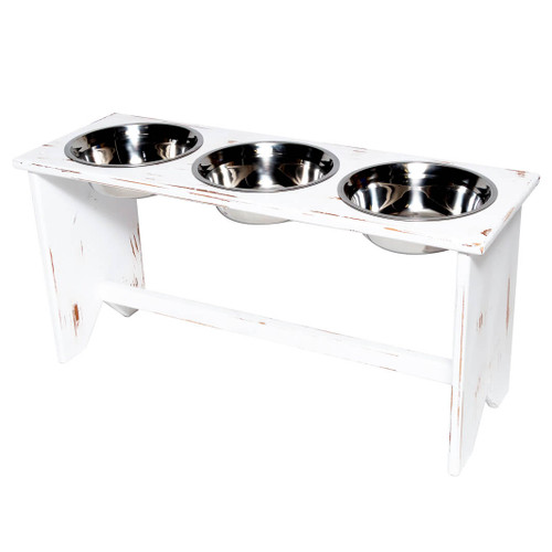 This wooden 3 bowls elevated dog bowl stand is fully assembled and ready to serve your wet food, kibble and water in separate bowls during mealtimes