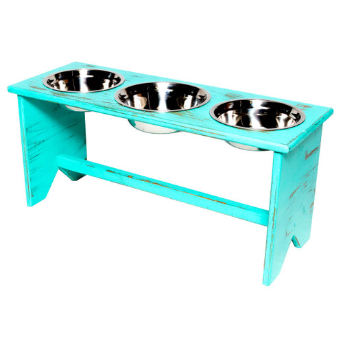 This wooden 3 bowls elevated dog bowl stand is fully assembled and ready to serve two dogs food in their own separate bowl and water is shared in a larger bowl