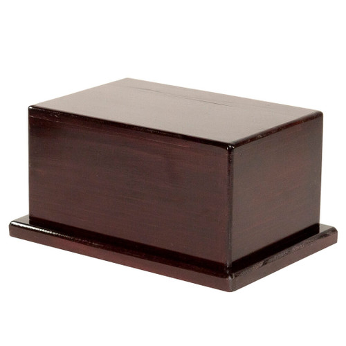 This cremation urn is fully assembled and is ready to store cremated remains