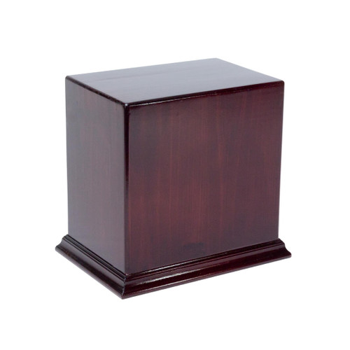 This solid handmade wooden companion cremation urn in a vertical orientation has a 10-litre capacity to securely store adult cremation ashes for two adults. Sized to fit two standard plastic containers as provided by crematoriums.