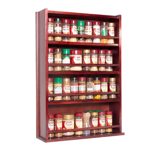 The spice rack is fully assembled and ready for use and can store up to 72 regular 40g spice jars across four tiers
