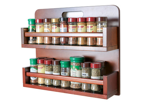 The spice rack is fully assembled and ready for use and can store up to 36 regular 40g spice jars across two tiers
