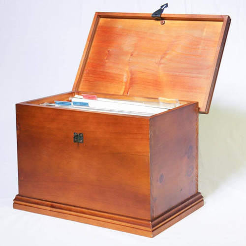 "Store important files and documents upto foolscap size (335mm/13"" wide) securely with this stylish and elegant lockable wooden file box."