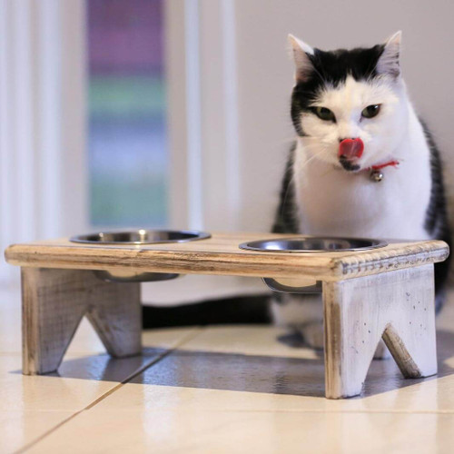 The freestanding cat bowl and dog bowl stand is fully assembled and ready to serve food and water for your cat or dog