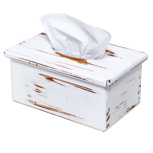 This wooden rectangular tissue box cover adds a rustic country charm to a home's décor