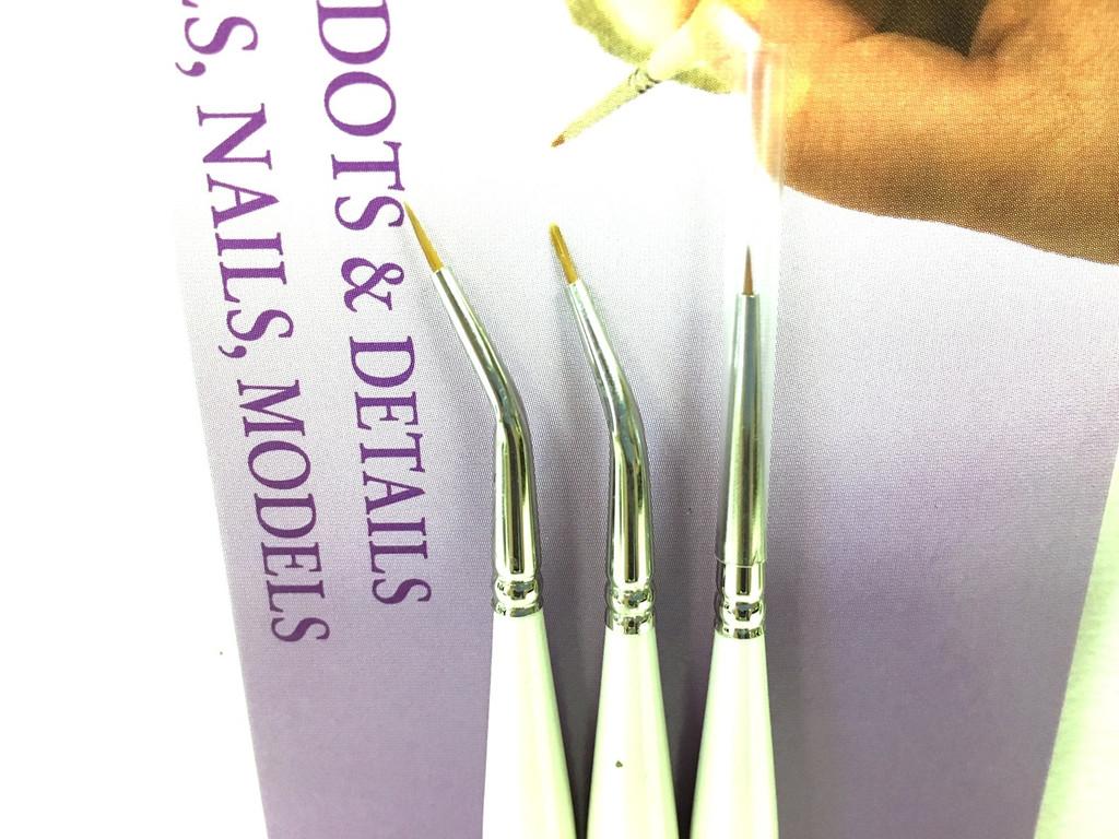 3 Per Pack Silver Brush UMS-2435S Ultra Mini Tight Spot Short Handle Brush Set