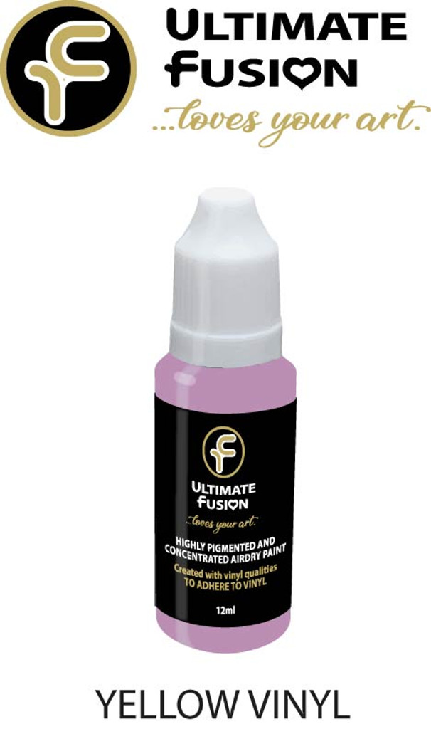 Ultimate Fusion All in One Air Dry Paint Yellow Vinyl 12ml Bottle (.4 ounce)