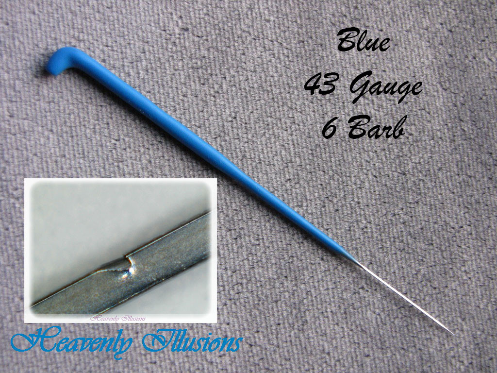 Heavenly Illusions Coated German Rooting Needle Blue 43 Gauge 6 Barb