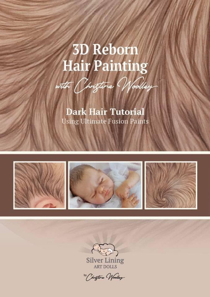 Brown Hair Tutorial Set for 3-D Reborn Hair Painting by Christine Woolley