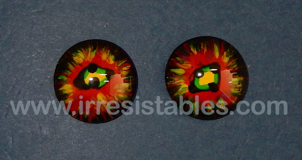 Fantasy Glass Cabochon Hand Painted Eyes Flat Back One of a Kind Red Green 20 MM
