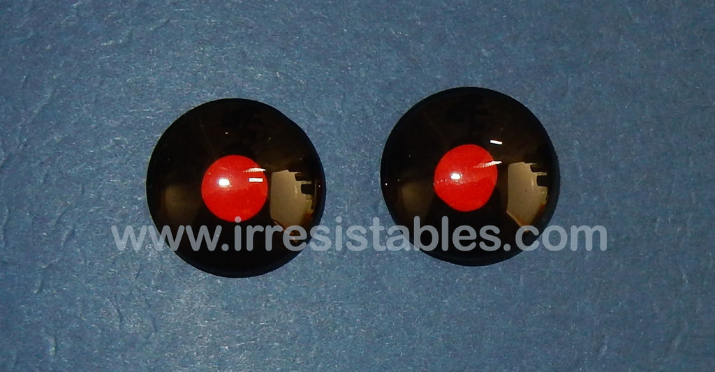 Fantasy Glass Cabochon Hand Painted Eyes Flat Back One of a Kind Black Red 18 MM