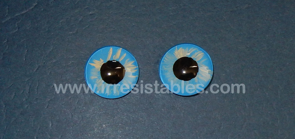 Fantasy Glass Cabochon Hand Painted Eyes Flat Back One of a Kind Light Blue 18 MM