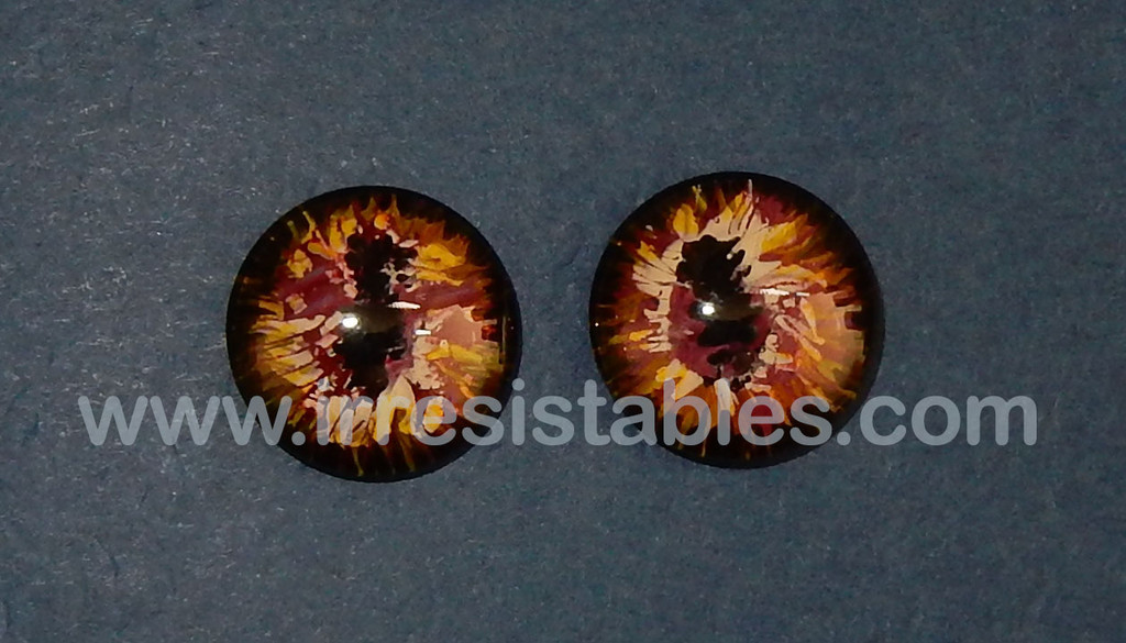 Fantasy Glass Cabochon Hand Painted Eyes Flat Back One of a Kind Maroon Splash 18 MM