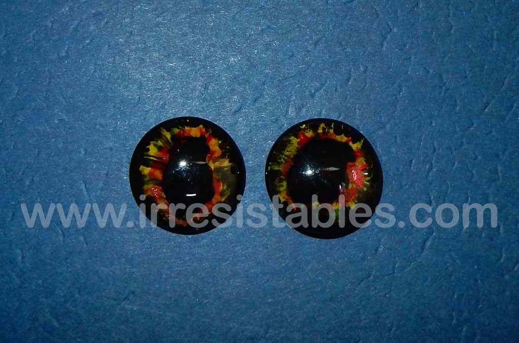Fantasy Glass Cabochon Hand Painted Eyes Flat Back One of a Kind Red Fire 18 MM
