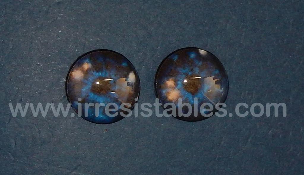 Fantasy Glass Cabochon Hand Printed Eyes Flat Back Galaxy Blue 20 MM