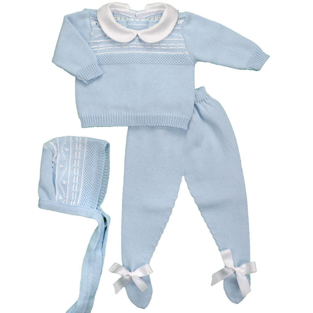 Spanish Knit 3 Piece Sweater Set in Light Blue with White Pattern by Ducle de Fresca-Madrid
