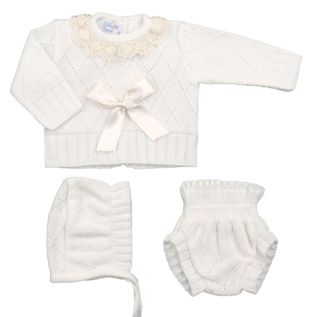 Spanish Knit 3 Piece Sweater Set in Cream  by Ducle de Fresca-Madrid