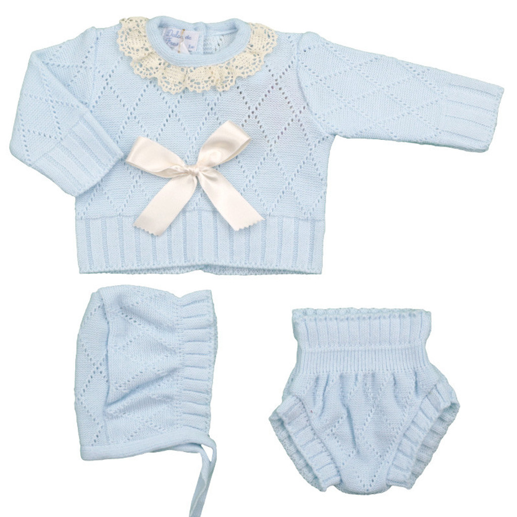 Spanish Knit 3 Piece Sweater Set in Light Blue with Linen by Ducle de Fresca-Madrid