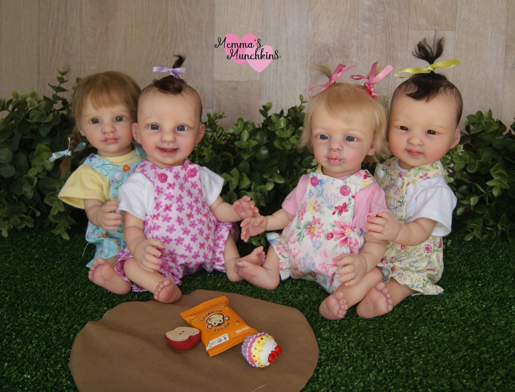 Annika, Kissy, Madelaine and Mollylee Mini Toddler Reborn Vinyl Doll KitSet  set of 4 by Marita Winters  11 inches