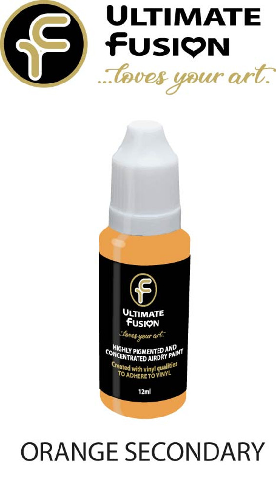 Ultimate Fusion All in One Air Dry Paint Orange 12ml Bottle (.4 ounce)