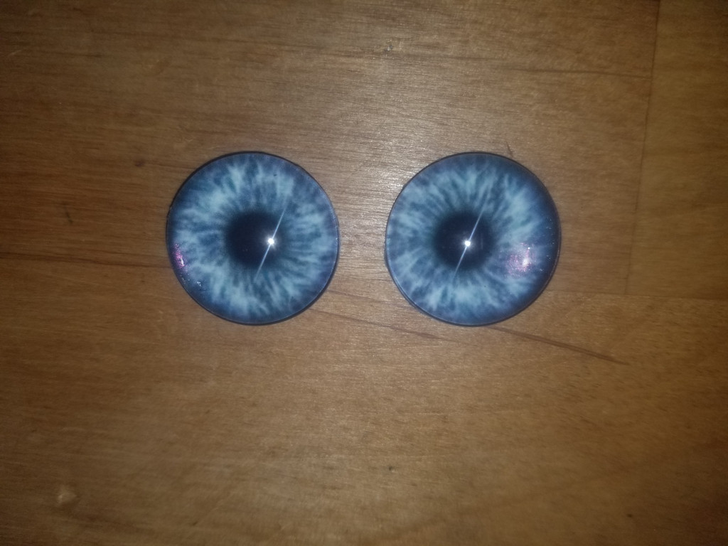 Fantasy Glass Cabochon Hand Printed Eyes Flat Back Blue Burst 18 MM