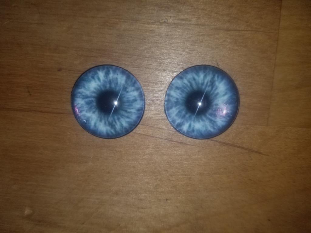Fantasy Glass Cabochon Hand Printed Eyes Flat Back Blue Burst 20 MM