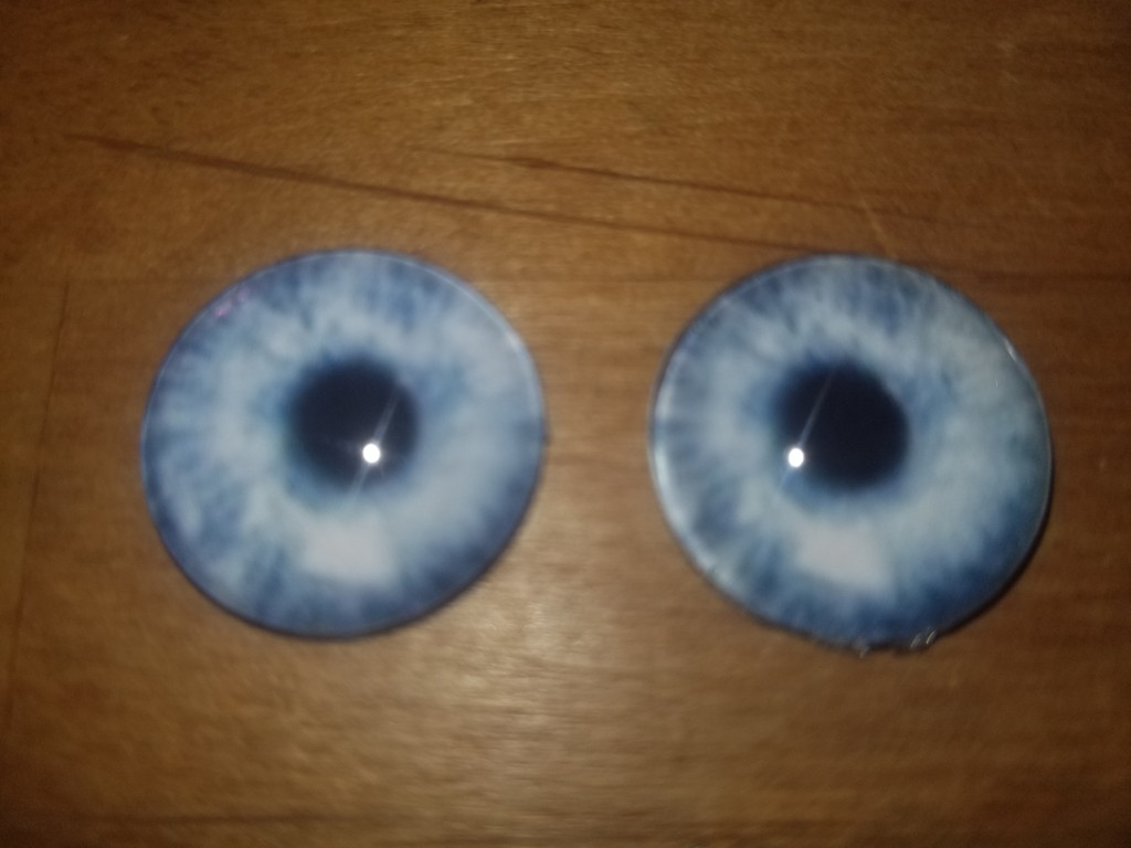 Fantasy Glass Cabochon Hand Printed Eyes Flat Back Electric Blue  20 MM