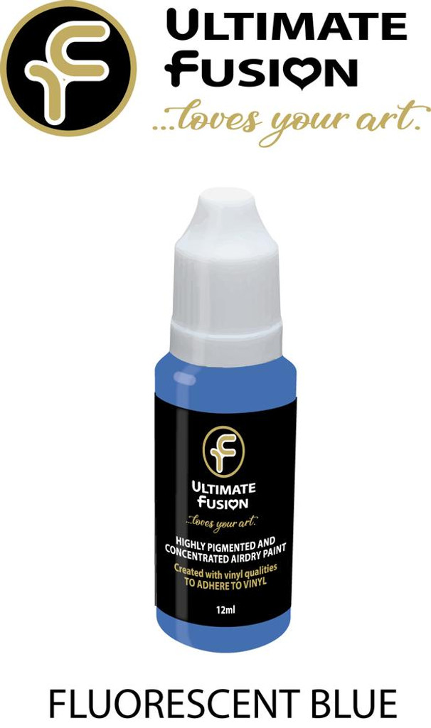 Ultimate Fusion All in One Air Dry Paint Fluorescent Blue 12ml Bottle (.4 ounce)