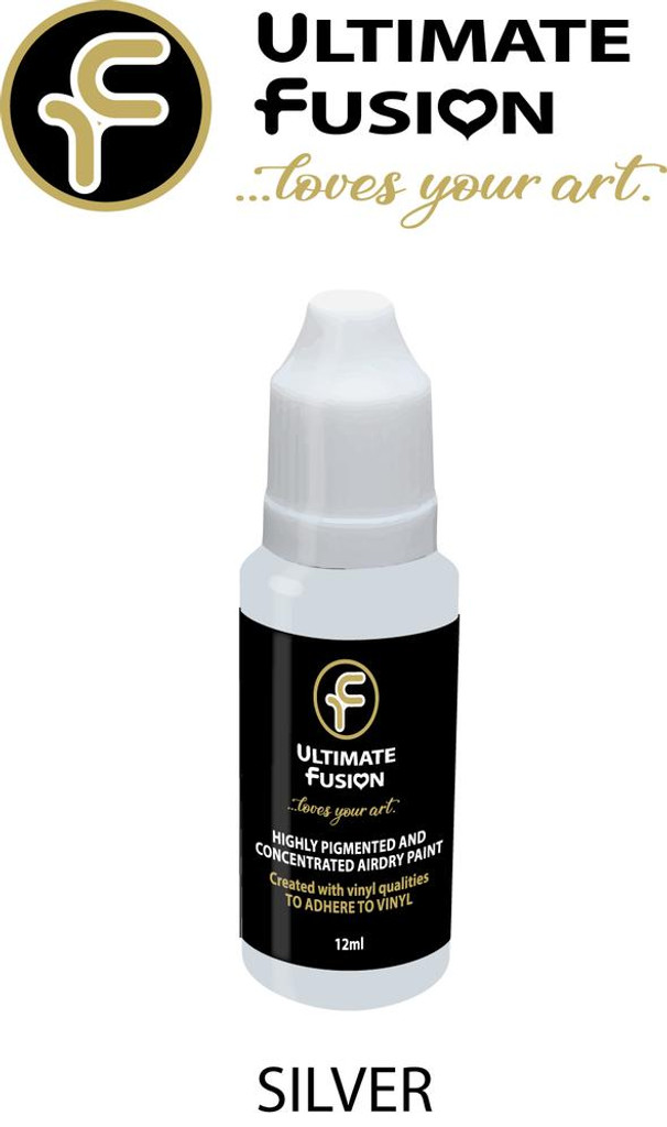 Ultimate Fusion All in One Air Dry Paint Silver 12ml Bottle (.4 ounce)