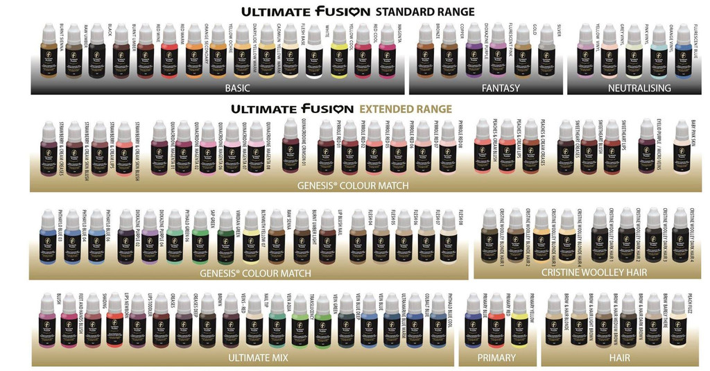 Ultimate Fusion 8 Piece Set of Flesh Colors Full Sized 12ml Bottles (.4 ounce)